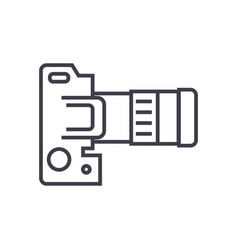 camera dslr top view line icon sign vector image