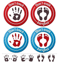 conceptual feet and hand signs set vector image