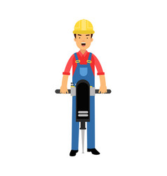 male construction worker character holding vector image vector image