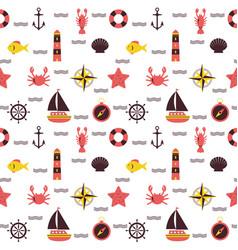 marine cartoon seamless pattern sea theme vector image