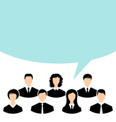 unity of business people team with speech bubble - vector image