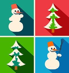 Christmas long shadow icons vector image vector image