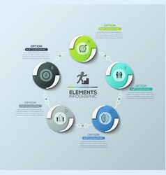circular diagram with 5 round elements connected vector image vector image
