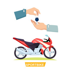 hand passing key process of buying sportbike vector image vector image