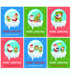 merry christmas claus and elf vector image vector image