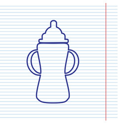 baby bottle sign navy line icon on vector image
