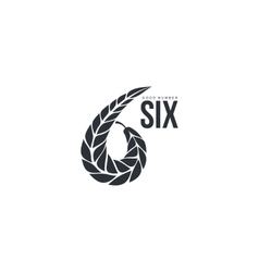 Black and white number six logo formed by wheat vector image vector image