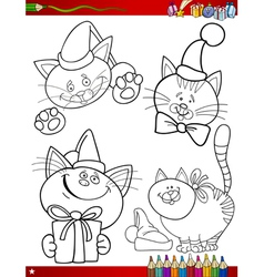 cartoon christmas themes coloring page vector image vector image