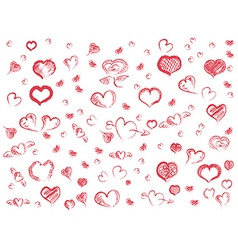 doodle red hearts seamless pattern background vector image vector image