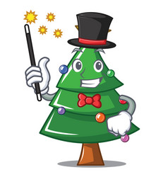 Magician christmas tree character cartoon vector