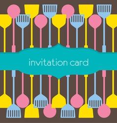 Utensils Pattern Invitation Card vector image vector image