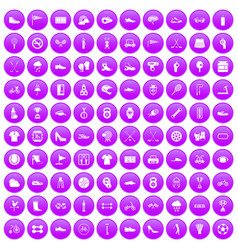 100 sneakers icons set purple vector image