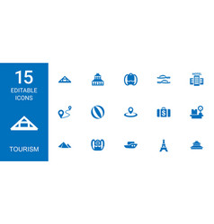 15 tourism icons vector