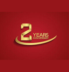 2 years anniversary logo style with swoosh golden vector