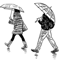A sketch casual pedestrians walking in rain vector