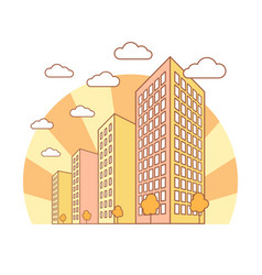 autumn city view with high buildings clouds vector image