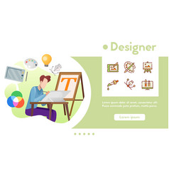 banner designer with linear icons set vector image