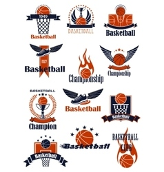 Basketball Championship or sporting club emblems vector image