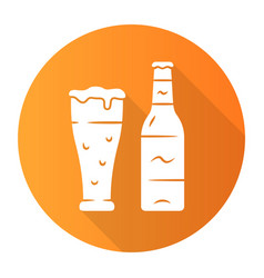 Beer orange flat design long shadow glyph icon vector
