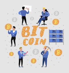 bitcoin concept with characters crypto currency vector image