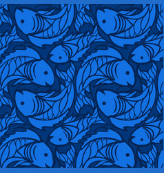 Blue aquatic seamless pattern with stylized fishes vector