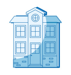Blue shading silhouette facade house of two floors vector