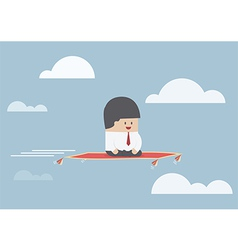 Businessman sitting on the flying carpet vector