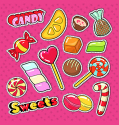 candies chocolate and sweet food stickers vector image