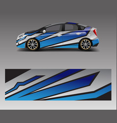 Car decal wrap design with wave element graphic vector