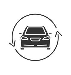 Car with circle arrow glyph icon vector
