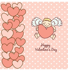 Card Happy Valentines Day cupid with heart vector