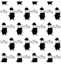 cartoon bear seamless pattern vector image