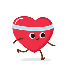 cartoon red heart run cardio exercise vector image