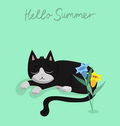 Character design black cat vector