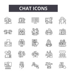 chat line icons for web and mobile design vector image