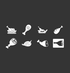 Chicken icon set grey vector