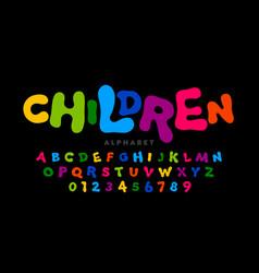 Children style colorful font playful alphabet vector