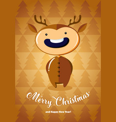 christmas card with boy in deer costume vector image