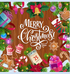christmas tree and gifts on wooden background vector image