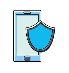 color smartphone technology with shield security vector image vector image