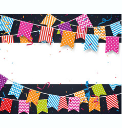 Colorful birthday background with bunting flags vector