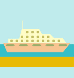 Cruise ship ocean liner in water and sky vector