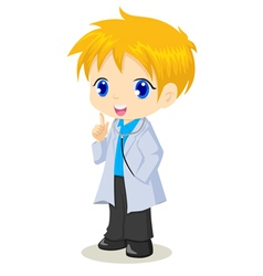 cute cartoon a boy as a doctor vector image