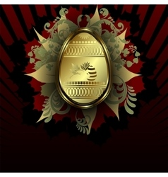 Design dark red color with Easter egg vector