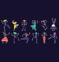 dia de los muertos skeletons day dead dancing vector image