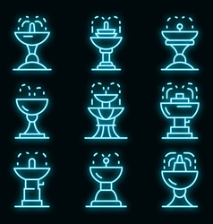 drinking fountain icons set neon vector image