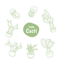 exotic green cactus succulent isolated line design vector image