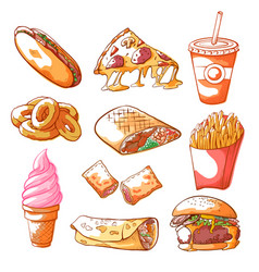 fast food hand drawn set isolated from background vector image