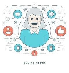 Flat line Social Media Concept vector