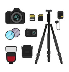 Flat set of photo equipment vector